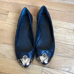 Tory Burch Black Gold Quilted Leather Flats